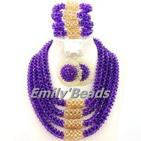 2015 New Purple Nigerian Crystal Beads Necklace Set African Wedding Party Jewelry Set African Lady Jewelry Free Shipping AMJ132