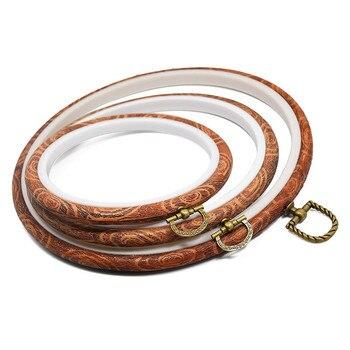 3 sztuk/zestaw haft obręcze ramki zestaw Cross Stitch Hoop pierścień naśladować drewna koło zestaw ramka wyświetlacza dla DIY Cross Stitch igły