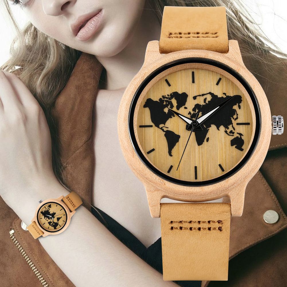 Women's Wooden Watch Leather Strap Wooden Watches Maple World Map Pattern Dial Wristwatch for Ladies Luminous Function(China)