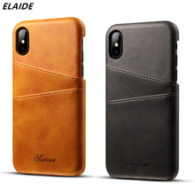 ELAIDE Original Genuine Leather Phone Case for iPhone 8 Case Back Cover for iPhone 7 Cases Card Slot for iPhone6 6s 7 Plus Cover цена и фото