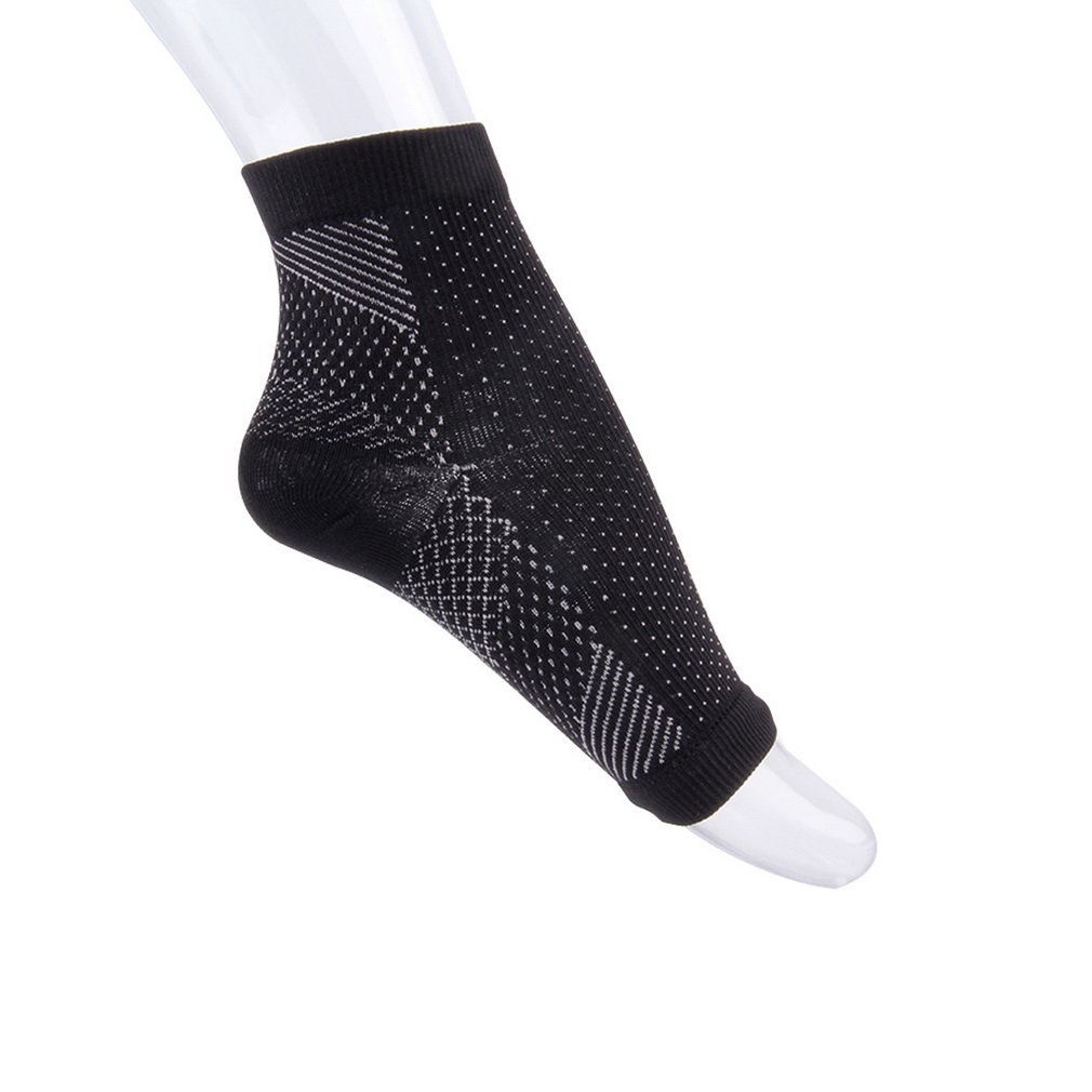New 1 Piece Feet Heel Ankles Sports Socks Compression Socks Anti Fatigue Varicose Feet Sleeve Black
