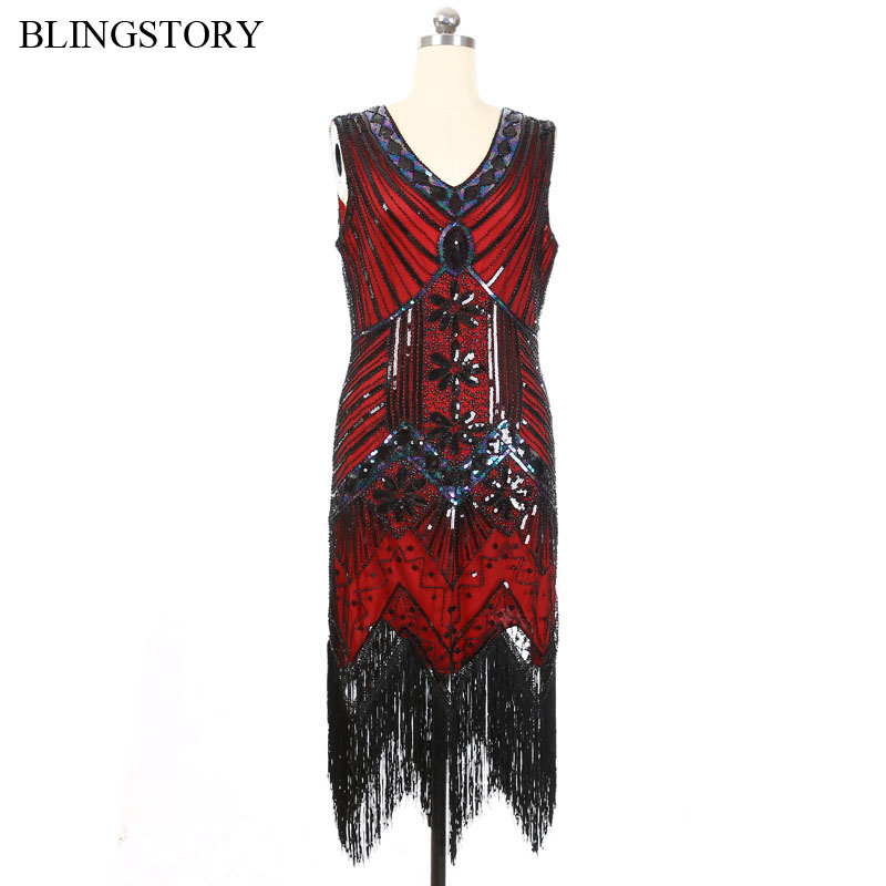 BLINGSTORY <font><b>Vintage</b></font> <font><b>1950s</b></font> <font><b>60s</b></font> Party V-neck Rockabilly Retro Vestidos Side Zipper Luxurious Bead Women <font><b>Dress</b></font> Sequin image