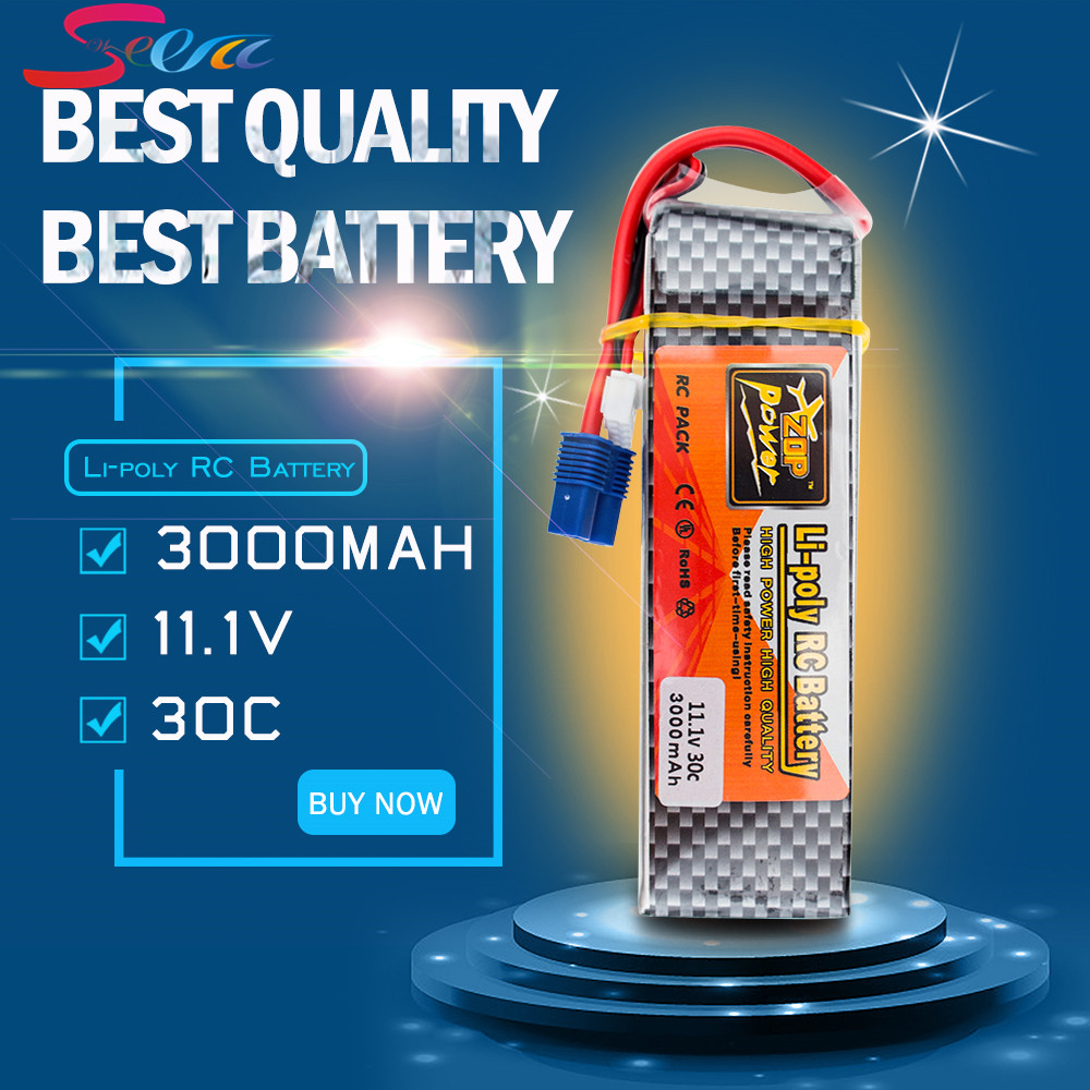 Lipo Battery 11.1v 3000mah 3S 30C EC3 T XT60 Plug Zop Power Polymer Lithium for RC Helicoper Drone zop power lithium polymer lipo battery 11 1v 1500mah 3s 40c xt60 for rc helicopter car truck hobby drone bateria