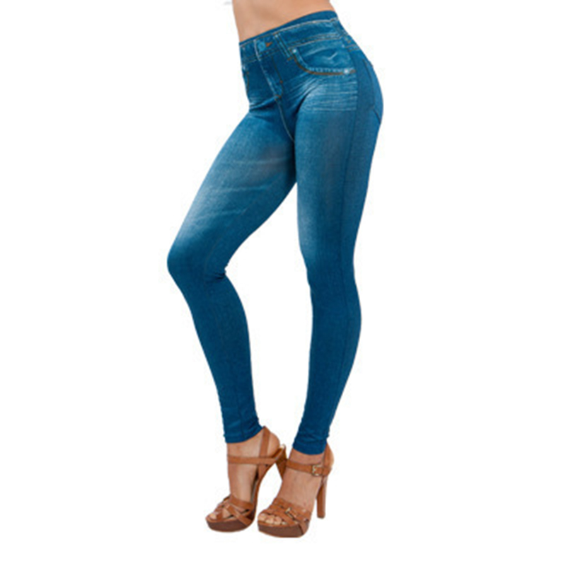 Women Thin Jeans Leggings With Pocket High Waist Slim Fit Denim Pants Trousers GDD99