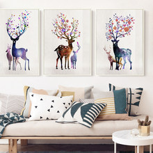 07G Abstract Watercolor Deer View Galaxy A4 A3 A2 Canvas Painting Art Print Poster Picture Living Room Portrait Home Decoration(China)