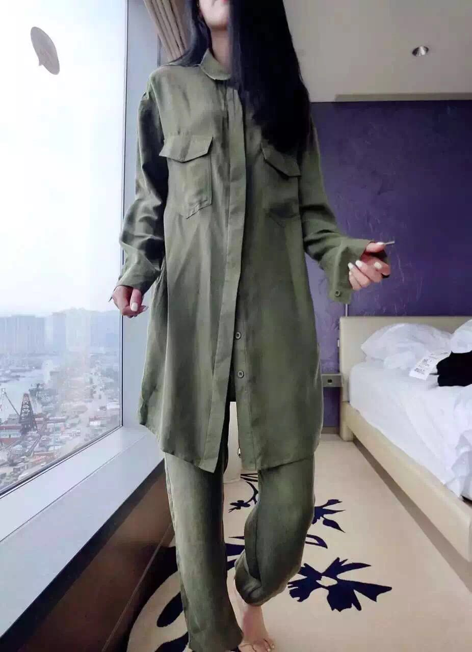 Spring new fashion suit army green large size cotton and linen thin windbreaker trousers two sets of female tide