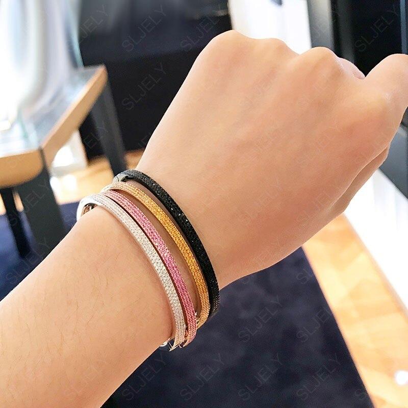 SLJELY Real 925 Sterling Silver Three rows Pink Orange White Black zircon Thin Bangle Bracelet Women
