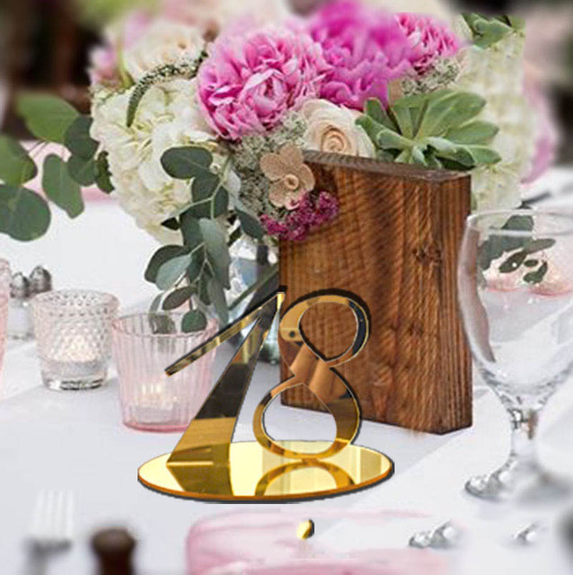 Acrylic Table Numbers For Weddings And Events Standing Numbers Gold