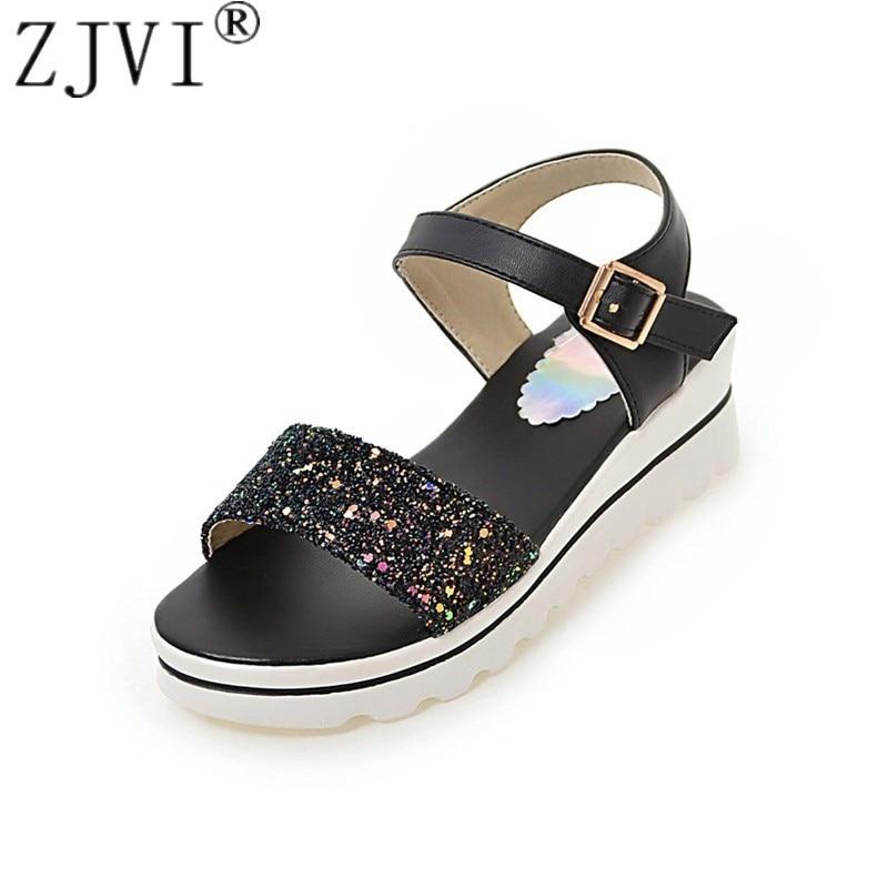 ZJVI women 2018 summer flat sandals womens fashion flats ladies sandal platform sandalias woman sexy bling shoes female causal