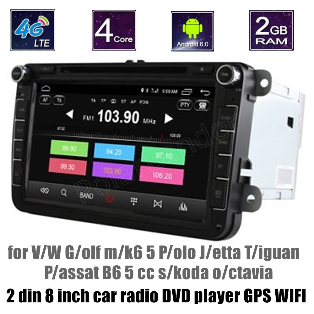 2 din android 6 0 car radio dvd player gps stereo for v w. Black Bedroom Furniture Sets. Home Design Ideas