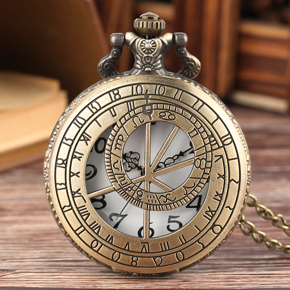 Zodiac Astronomy Doctor Who Theme Hollow Bronze Quartz Pendant Fob Pocket Watch with Necklace Chain Gift for Men Women new arrival bronze fishing angling quartz antique pocket watch with necklace chain for men and women