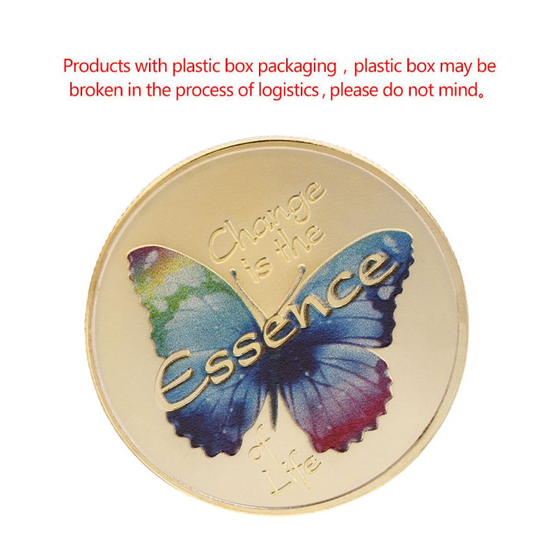 Commemorative Coin Colorful Butterfly Souvenir Collection Arts Craft Gift Insect