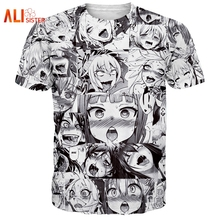 Alisister Ahegao Print T Shirt Men Women Harajuku Face Red Woman T Shirts Funny Shy Girl Sexy Tops Summer Cute Clothing Dropship(China)