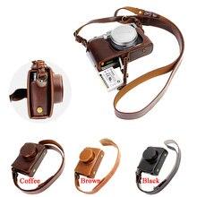 Câmera de vídeo caso de luxo saco para fujifilm fuji x100 x100s x100t pu leather camera bag com alça projeto da bateria aberto