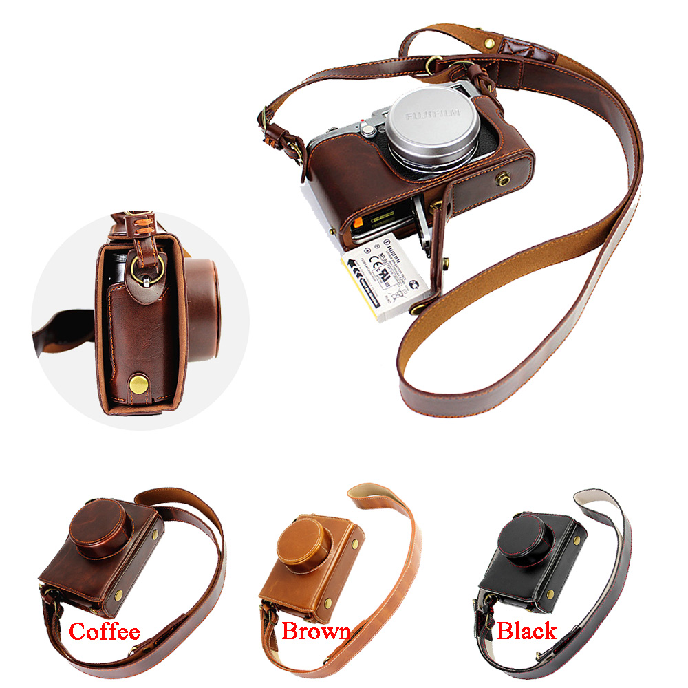 Luxury Camera Case Video Bag For Fujifilm FUJI X100 X100S X100T PU Leather Camera Bag With Strap Open battery design