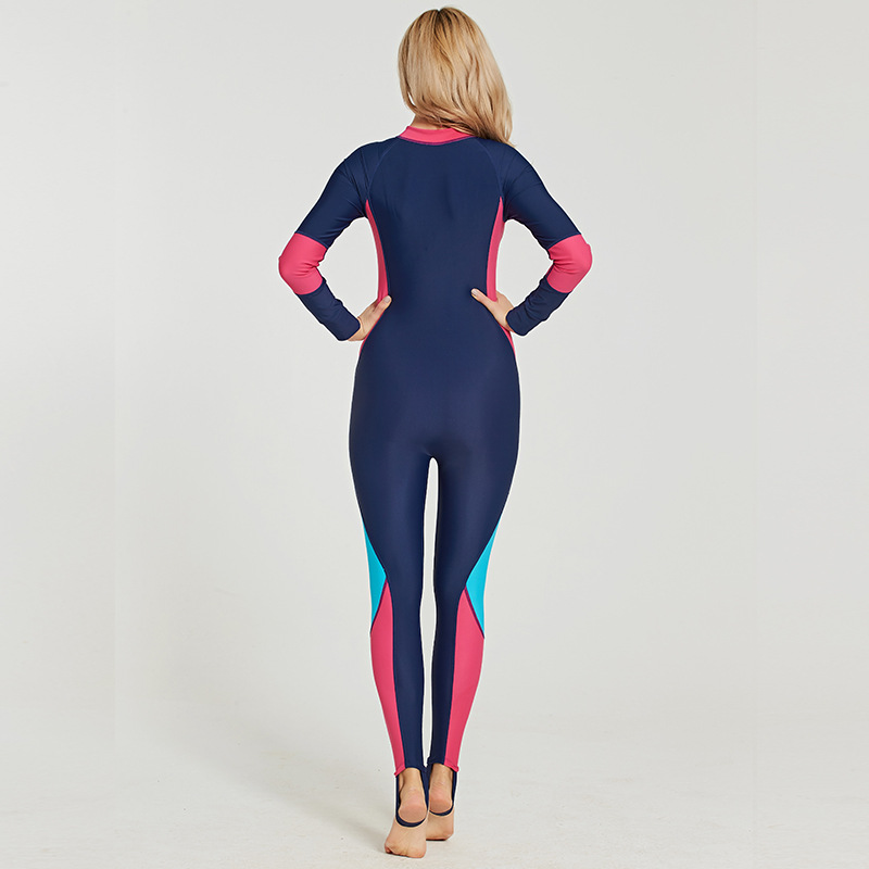 New women 39 s one piece wetsuit long sleeve sun protection swimsuit thin jellyfish suit surfboard suit diving suit in Wetsuit from Sports amp Entertainment