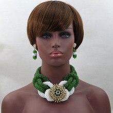 2017 Fashion luxury Nigerian African Wedding Beads Jewelry Set Green/White Crystal Necklaces Bracelet Earrings Sets HX475