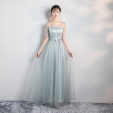 Grey Colour Long Dress for Wedding Party Woman Elegant Bridesmaid