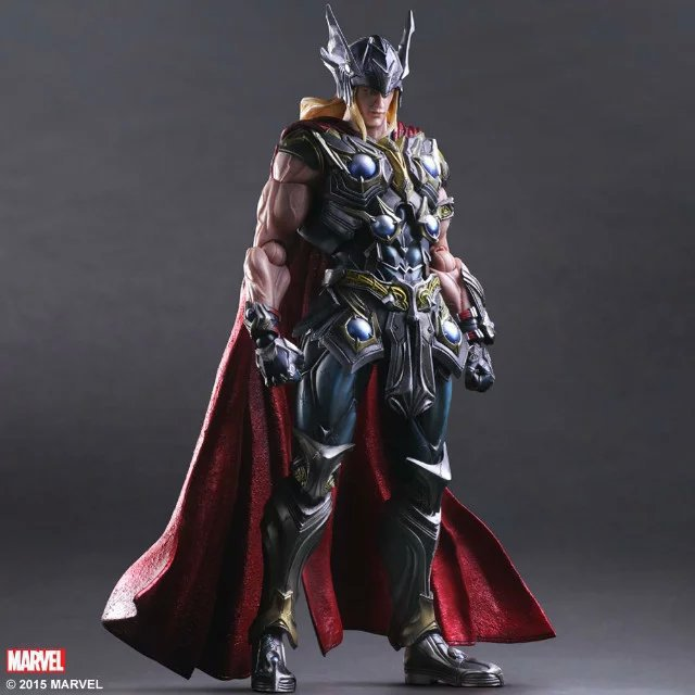 Elsadou 26cm Play Arts PA Marvel The Avengers Thor Action Figure Toy Doll Collection marvel the avengers thor 7 pvc action figure removable model collection doll toy gift boy