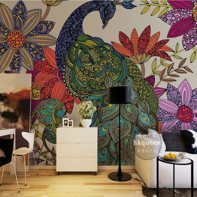 Animal Wallpaper For Kids Bedrooms Custom Wall Mural Classical Peacock Flower Hand Painted