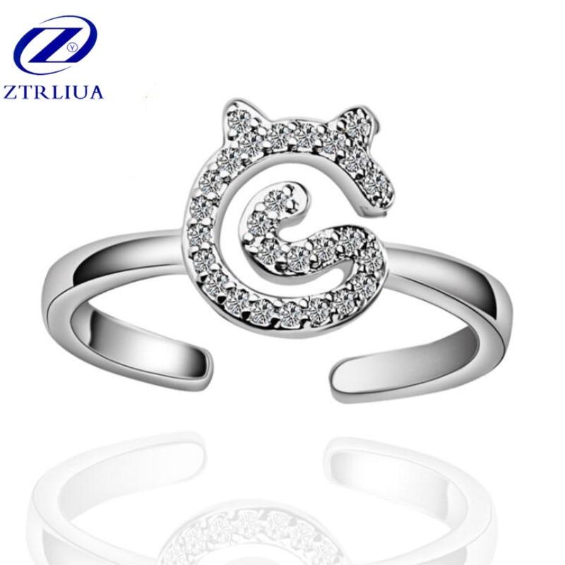 Temperament Popular 925 Sterling Silver Fashion Simple Zircon Crystal Cute Cat  Ring Korean Jewelry Allergy        SR58