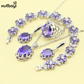 XUTAAYI Fashion Purple Imitation Amethyst Sterling Silver Overlay Jewelry  Sets Jolly Necklace Rings Earrings Bracelet