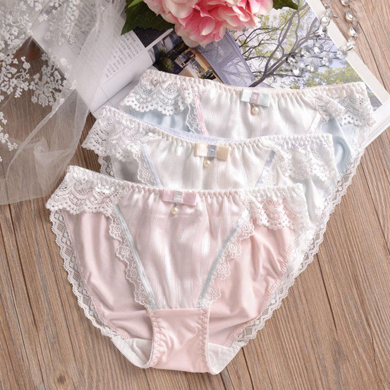 83c0d9b146070 Milk Silk Cute Lovely Girls Panties Sexy Lace Low Waist Sweet Style Woman  Underwear Seamless Briefs Knickers Calcinha Underpants-in women s panties  from ...
