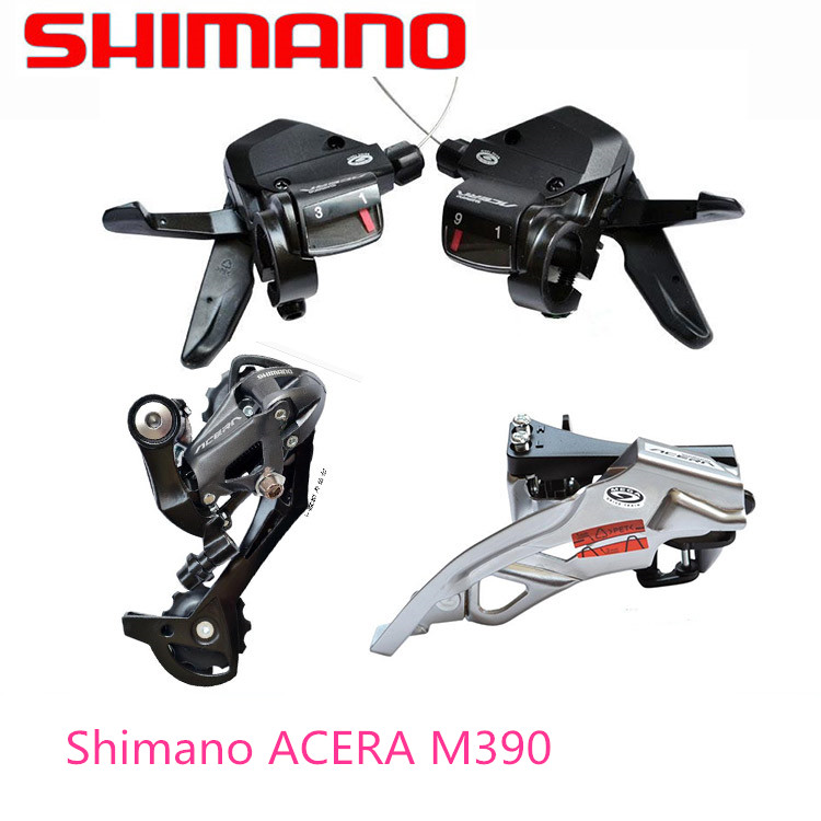 SHIMANO ACERA M390 9S 27S Speed MTB Bicycle Groupset Kit 3 Parts with Shifter Lever & Front and Rear Derailleur shimano acera mountain bike st ef65 shift brake lever 3 8 speed 24s mtb bicycle bike conjoined dip bicycle derailleur