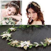 Tiara Noiva Gold Plated Flower Green Leaf Hairband  Wedding Bridal Hair Accessory Forest Hairwear for Girl Party New YEar Gift
