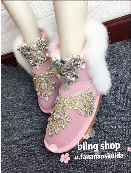 Tubo Rosado Corto Mujer Princesa Hierba Planteado Plana La Botas Dentro Invierno De Piel Nuevo Conejo Nieve Rosa Para BT08xHHq