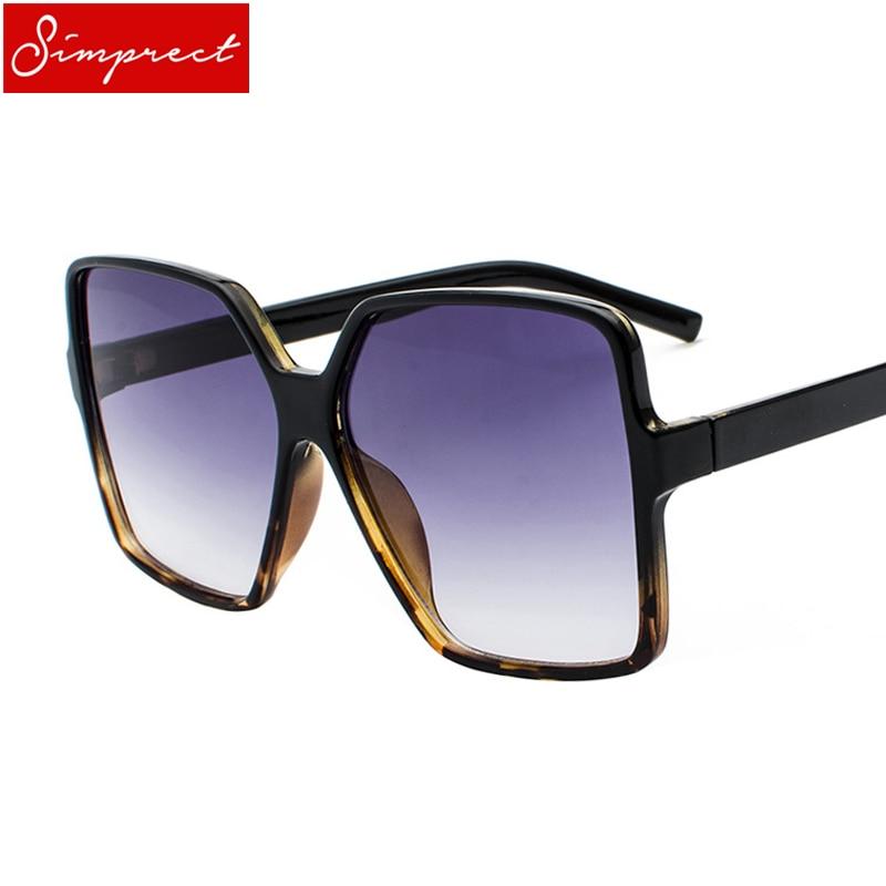 SIMPRECT Black Oversized Sunglasses Women Men 2018 Retro Big
