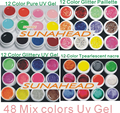 new 48 Mix color nail art uv gel polish,Pure +Glitter Paillette Hexagon + Glitter+ pearlescent nacre colors tools Solid Builder