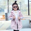 2016 New arrival Autumn Girls Warm Trench Coat Children Girls Clothes Hooded Collar Ribbon Outerwear Coat for Kids Girl 2 Colors