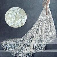 Tecidos bordados rendas estéreo flor de tecido do vestido de casamento do marfim branco broto de seda tecidos de gaze Casamento