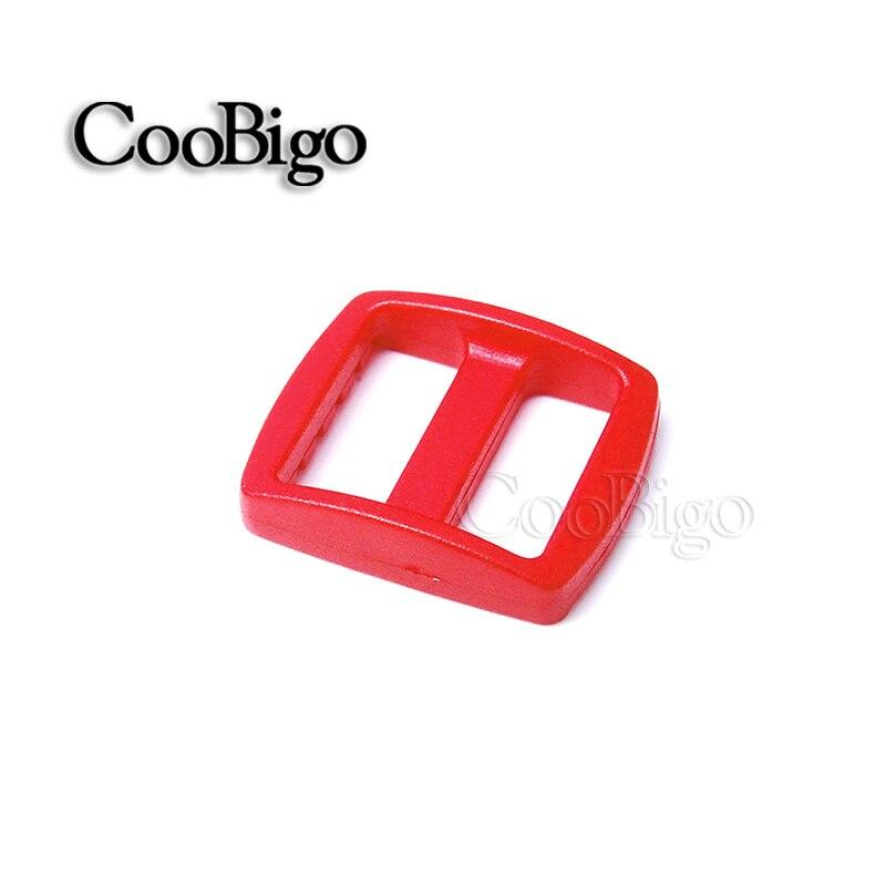 """10 шт Упаковка многоцветные пластиковые изогнутые Tri Glide 3/""""(20 мм) слайдер лямки регулировать пряжки широкий стиль походный рюкзак ремни - Цвет: Red"""