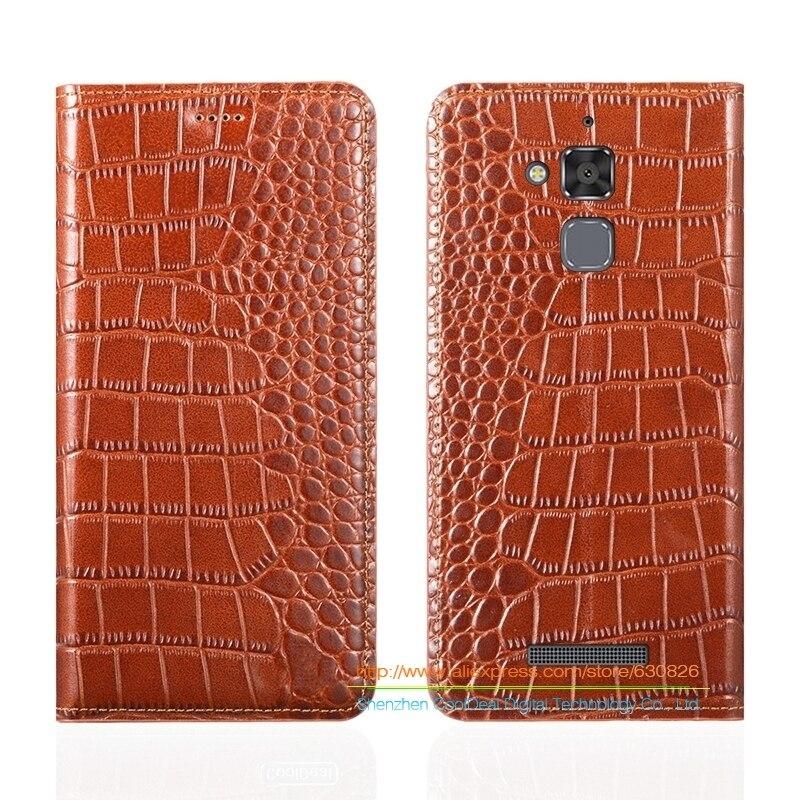 """imágenes para Grano del cocodrilo Genuino Funda de Cuero Para Asus Zenfone 3 Max ZC520TL 5.2 """"Cubierta Del Teléfono de lujo y Imán Invisible 1 Ranura Para Tarjeta"""