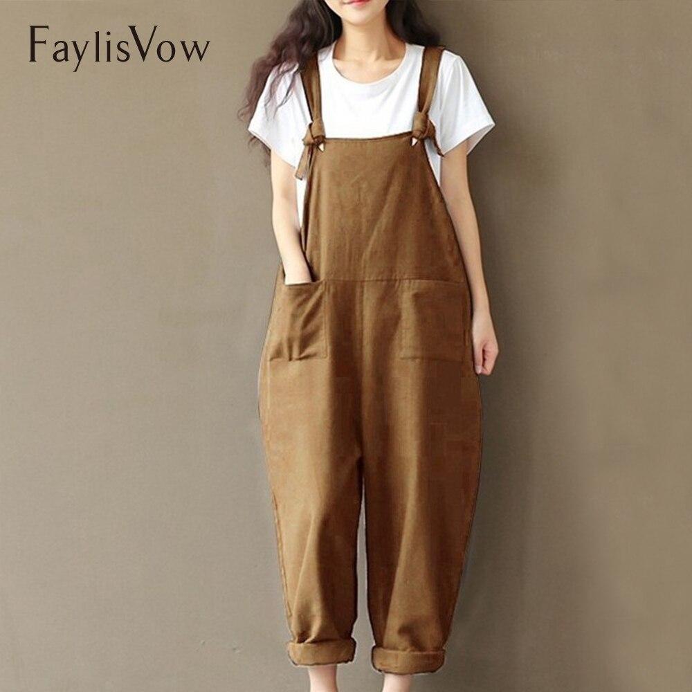 Women Plus Size   Jumpsuits   Cotton Linen Overall Adjustable Strap Wide Leg Pockets Paysuit Vintage Backless Harem   Jumpsuit   5XL