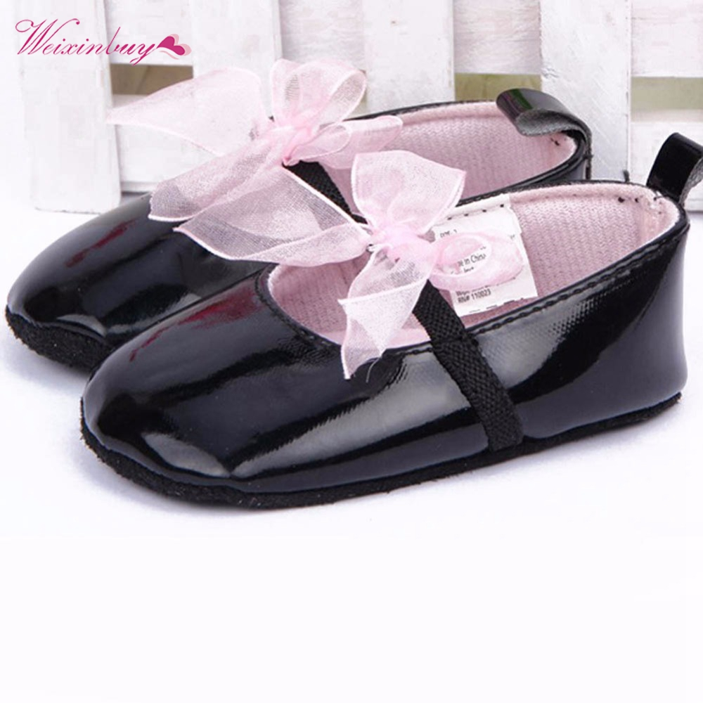 Shoes Toddler First-Walkers Shallow Soft-Sole Baby-Girl Pink Silk Knot Bowtie Strapppy