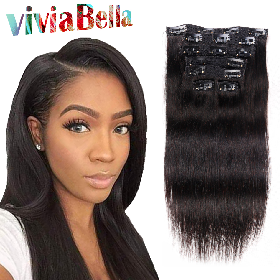 natural hair clip extensions human hair clip ins 7pcs/set straight