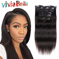 Natural Hair Clip Extensions Human Hair Clip Ins 7pcs/set Straight Virgin Hair African American Clip In Human Hair Extensions