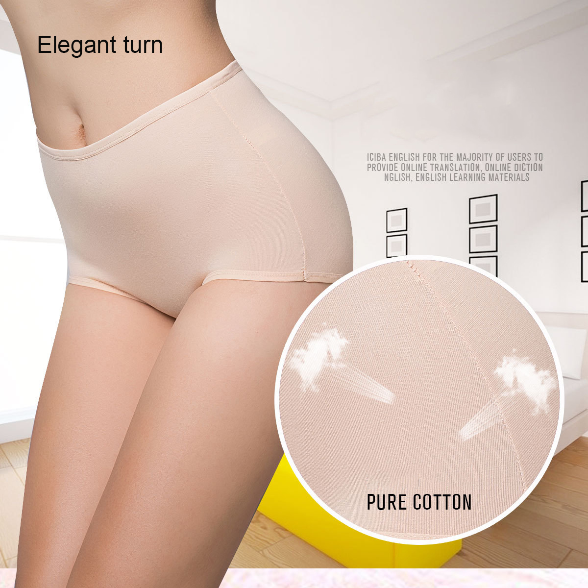 1 Pack=3 Pieces Women's briefs Stretch cotton Abdomen   panties   classic high waist Lady's underwear girl lingerie underpants