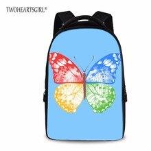 Twoheartsgirl 17 дюймов ноутбука Рюкзаки для подростков Обувь для девочек красочные бабочки Рюкзак Для женщин Mochila Тетрадь Bagpack