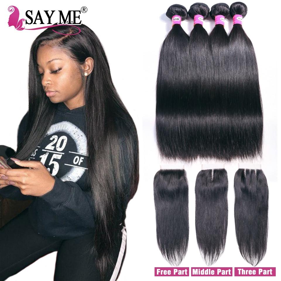 Human Hair 3 Bundles With Closure Brazilian Straight Hair Bundles - Menneskehår (sort) - Foto 1