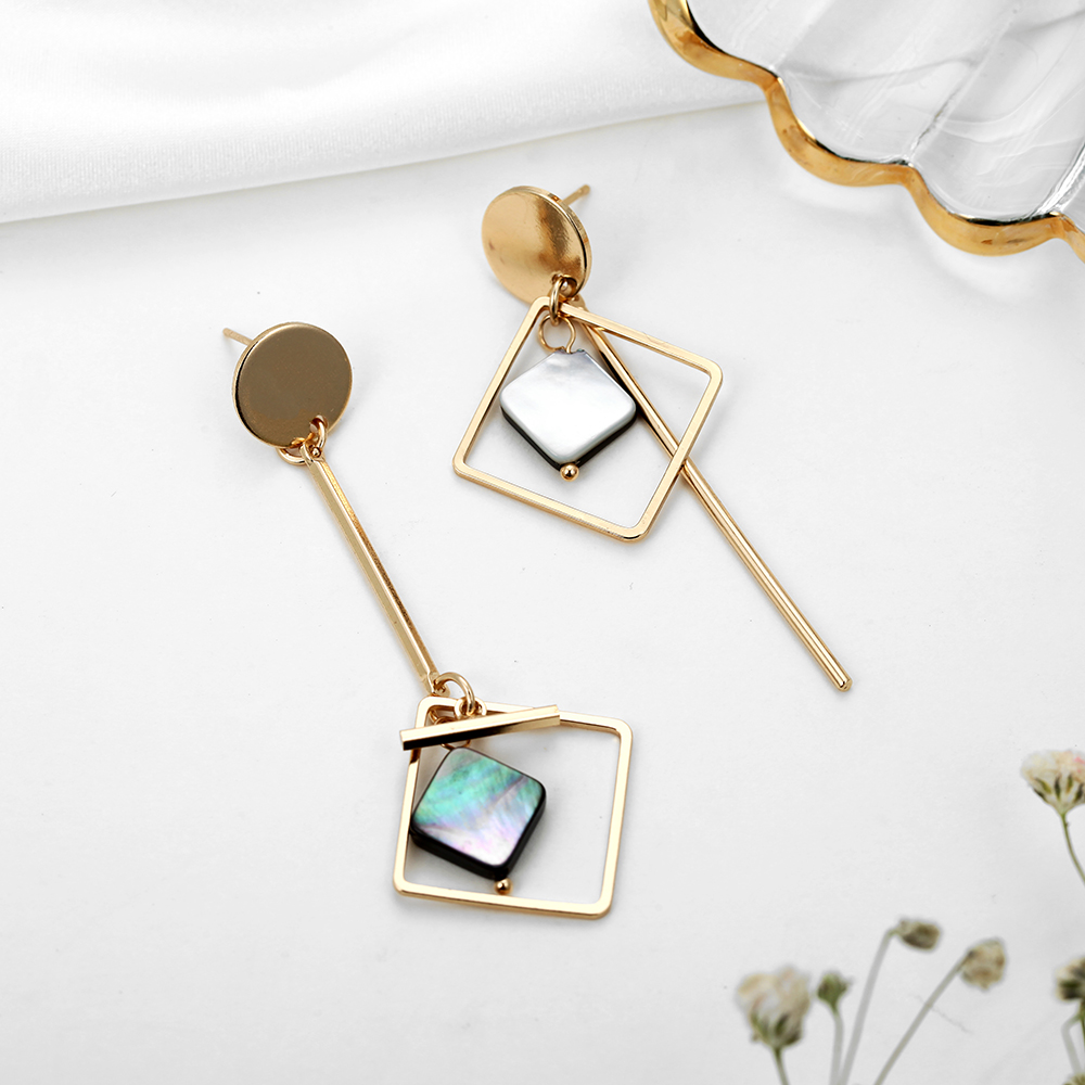 TMXK angel 19 Square Geometric Metal Earrings Korean Fashion Earrings for Women Gift for Wedding Birthday Friends and Lovers 4