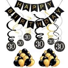Decoración de cumpleaños de individualidad, Oro Negro 18 30 40 50 60 70, decoraciones para fiesta de cumpleaños, espirales colgantes para adultos, Set DIY