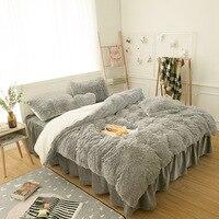 Princess Girls Bedding set Thick Fleece Warm Winter Bed set King Queen Twin size Duvet cover Pillow Cover Bed skirt