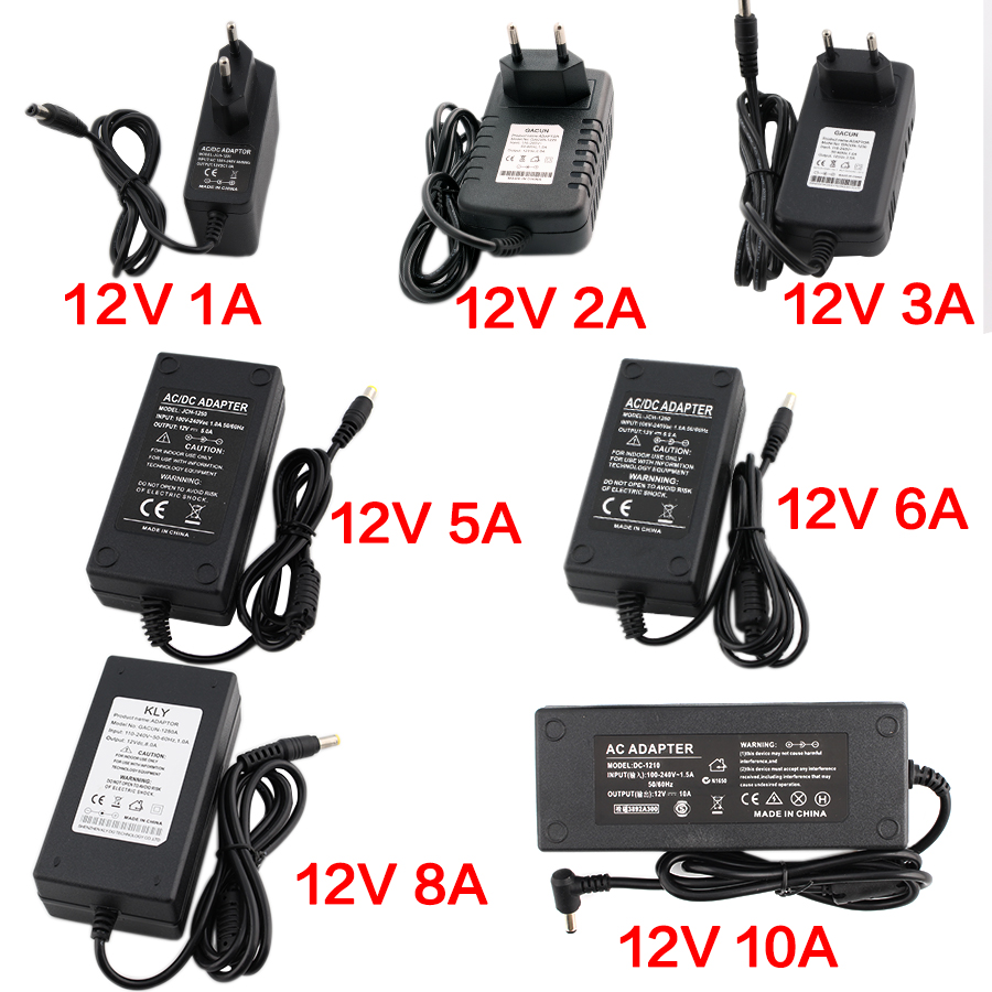 AC-DC <font><b>220V</b></font> TO 12V Power Supply 12V 1A 2A 3A 5A <font><b>6A</b></font> 8A Transformer Regulated Power Adapter <font><b>Switching</b></font> Charger For 12v led lamp image