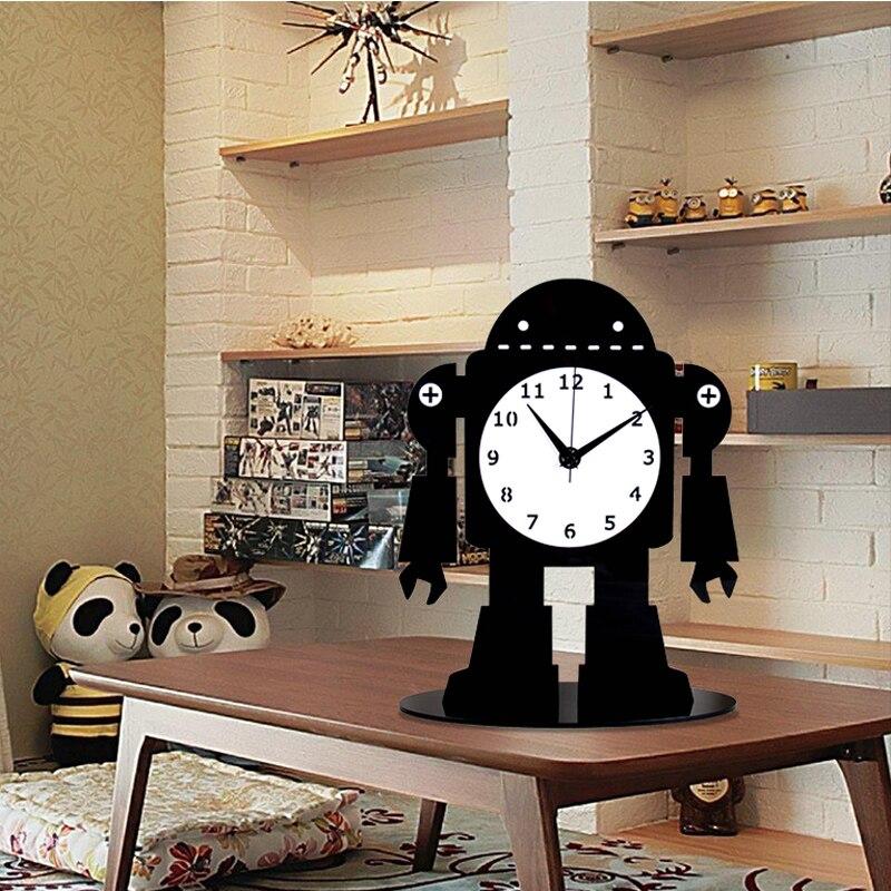 2019 acrylique grande Table numérique horloges Design moderne dessin animé Ultra calme Quartz bureau horloge noir bureau montre livraison gratuite - 2