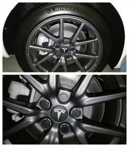 Image 3 - Для Tesla Model 3, автомобильные гайки, гайки для колес, чехлы для гаек глянцевые черные автомобильные аксессуары, колпачок для колес, болт для гаек