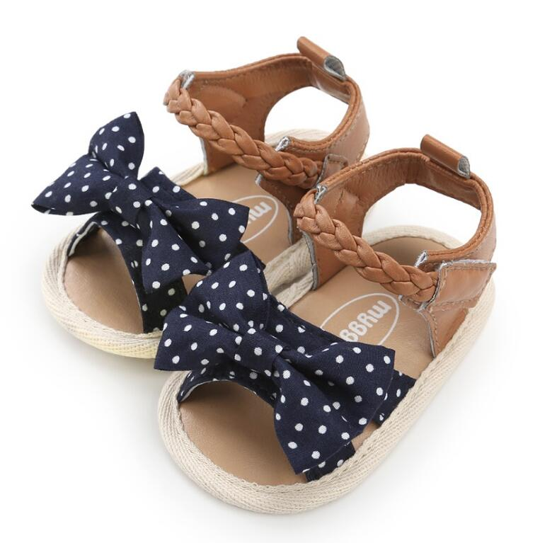 2018 New Canvas bow Soft Sole PU Baby girls First Walkers Shoes Fashion summer Prewalkers First walkers toddler moccasins Newest